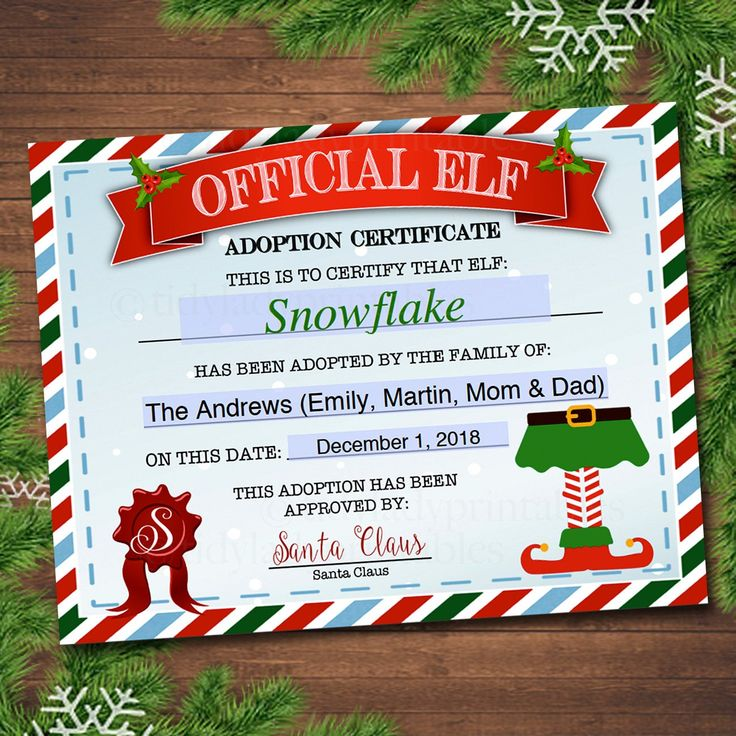 EDITABLE Elf Adoption Certificate, Elf Letters Notes from