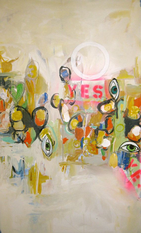 O Yes l  contemporary abstract graffiti painting by JodiFuchsArt