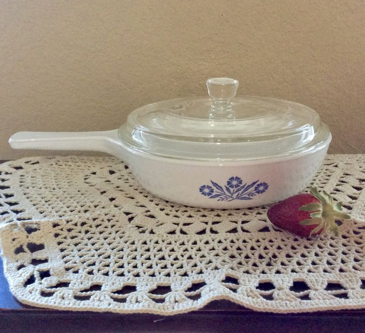 "Vintage Corning Ware Blue Cornflower 6 1/2"" Round Menu-Ette Skillet P-83-B with Pyrex Lid by CottonTopVintage on Etsy"