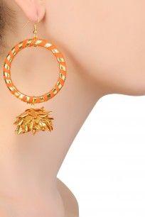 Orange and Gold Gota Jhumki Drop Hoop Earrings #gotta #ribbon #earrings #AprajitaToor #shopnow #happyshopping #perniaspopupshop