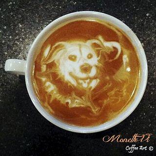 Intricate Latte Art Dog