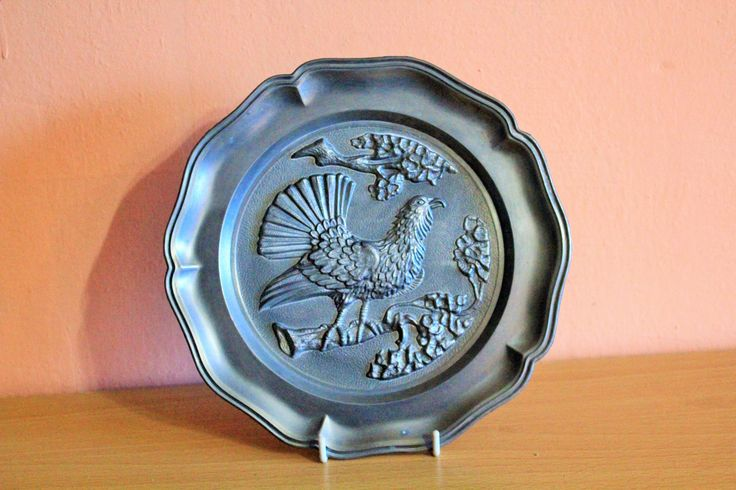 Vintage Zinn Pewter Embossed Plate with Bird Angel Mark Metal Plaque Farmhouse Home Decor, Shabby Chic Rustic by Grandchildattic on Etsy
