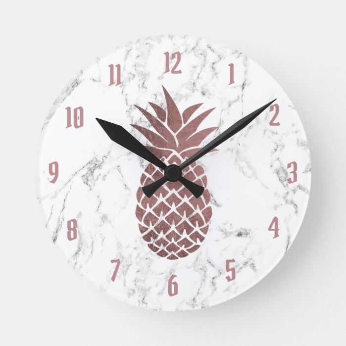 Rose Gold Pineapple Logo Modern White Marble Round Clock Zazzle Com In 2020 Gold Pineapple Marble Clock Clock