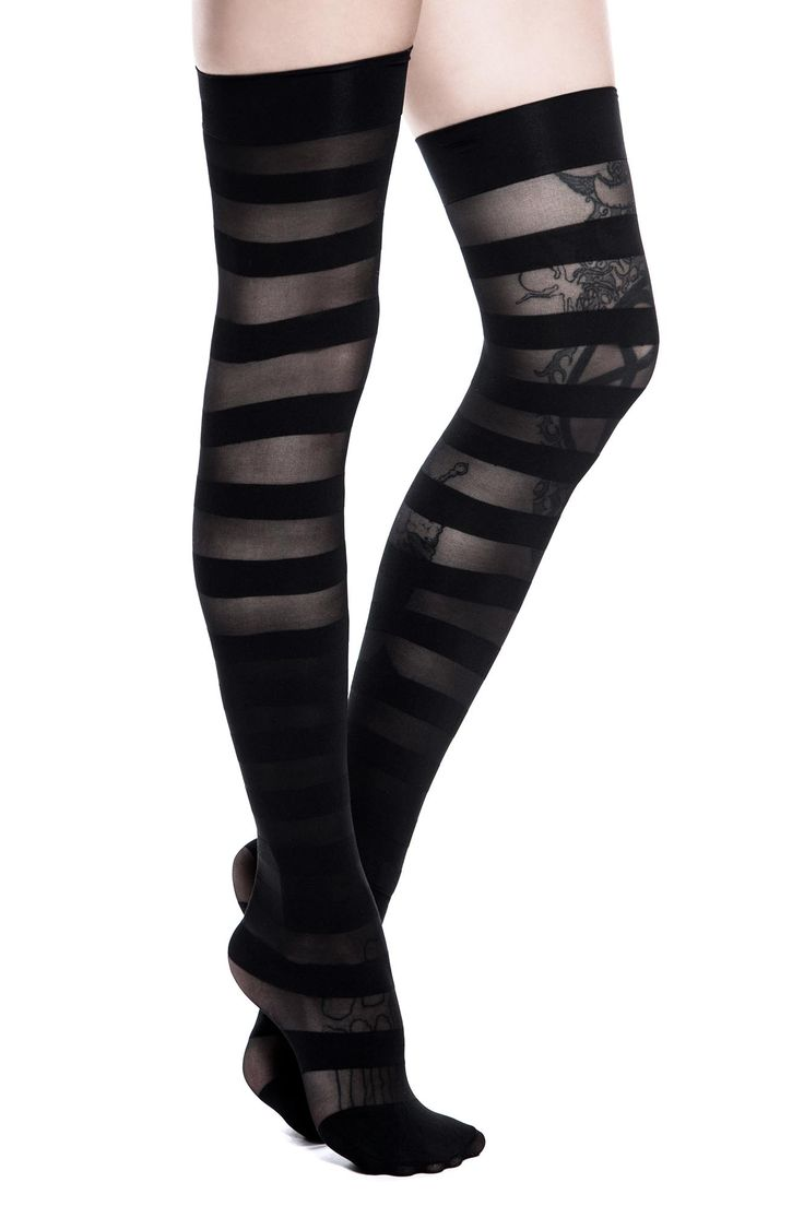 Fashion look from june 2014 featuring thigh high hosiery purple - Underworld Stockings By Killstar