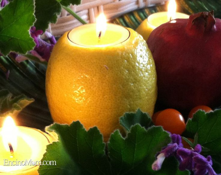 Use a single Lemon as a candle holder for clear tealights.