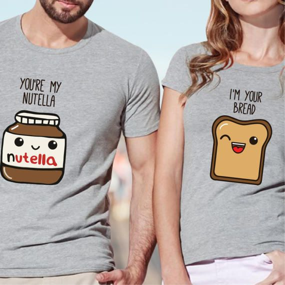 """Couple set t-shirt """"You're My Nutella"""" """"I am Your Bread"""" present for couples, lovers, ideas for newlyweds, partners tees"""