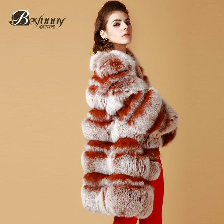 Pink and red fox fur coat