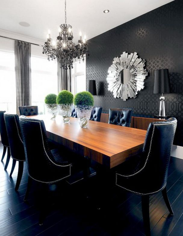 Black Scheme Dining Room Creation Using Black Upholstered Formal Chairs and Large Rectangular Dining Table Wooden Top with Elegant Classic Chandelier