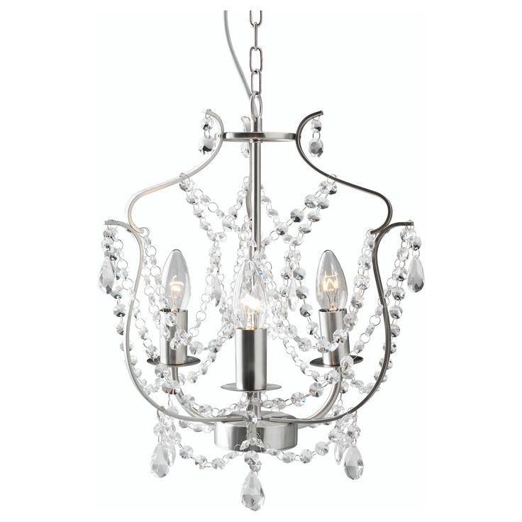 A chandelier in every room! Unfortunately, I doubt it would work with the current wiring/overhead light placement. :( - KRISTALLER Chandelier, 3-armed - IKEA