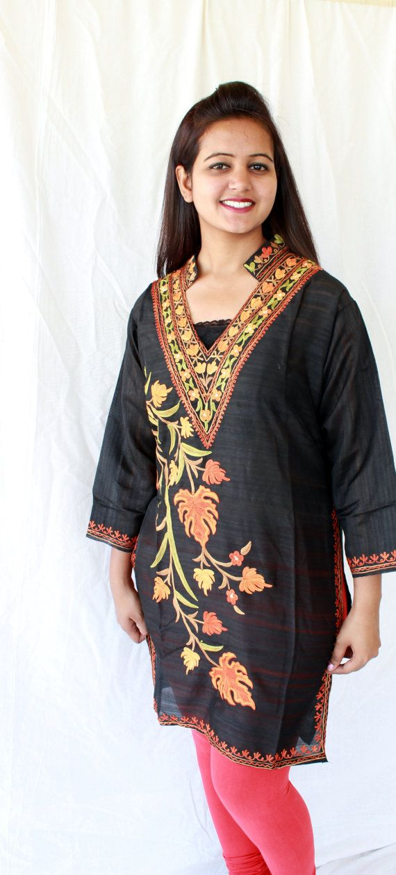 Red cotton hand embroidered Indian Kurta by VaividhyaCollections