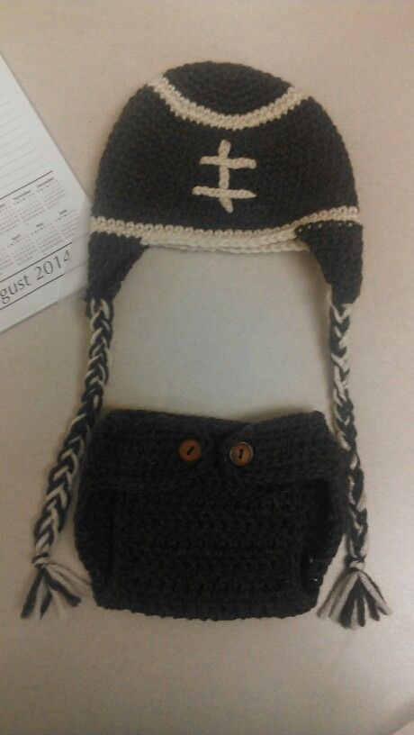 Crochet football hat with matching diaper cover