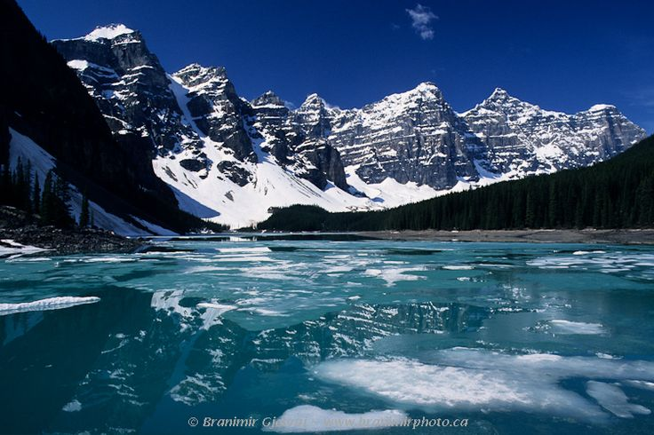 Spring thaw on Moraine Lake, Valley of the Ten Peaks, Banff National Park, Alberta