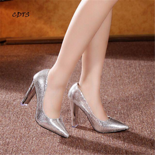 Zapatos mujer Ouro/Sliver senhoras 10 cm grosso sapatos de salto alto sexy Sapato de Bico Fino couro Envernizado bombas das mulheres do partido/vestido/sapatos de casamento