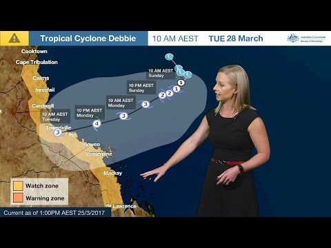 Severe Weather Update: Tropical Cyclone Debbie, 25 March 2017 - YouTube