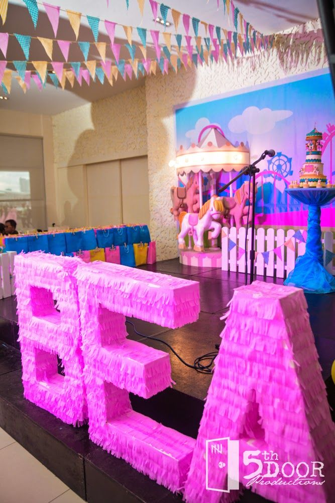 Bea's Carousel Themed Party DIY Paper Mache Letter Standees by Something Pretty Manila | Event Styling