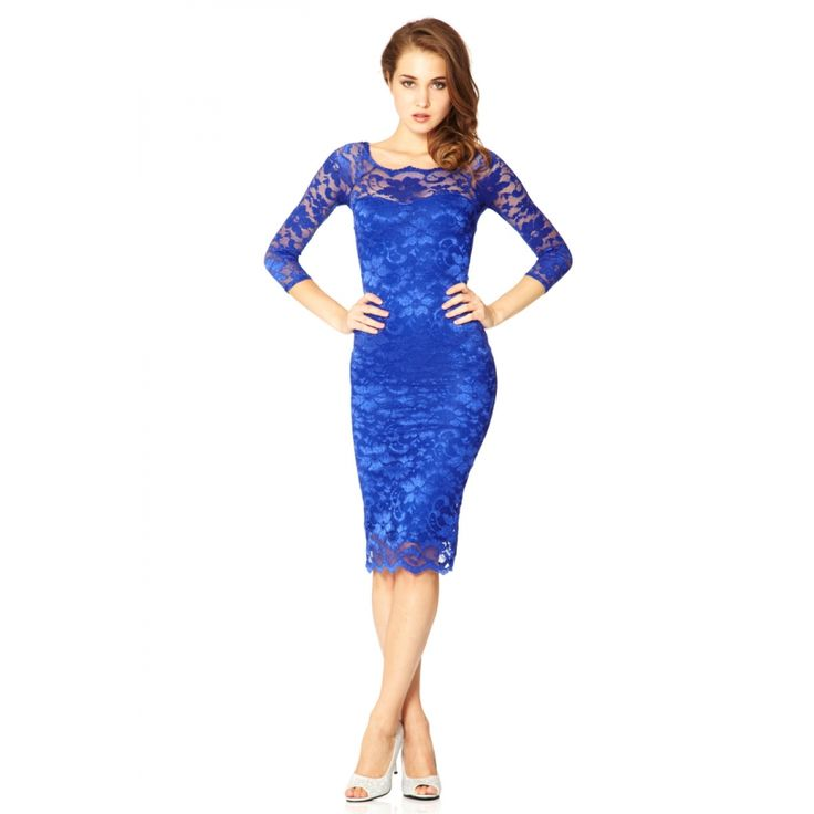 Royal blue lace bodycon dress