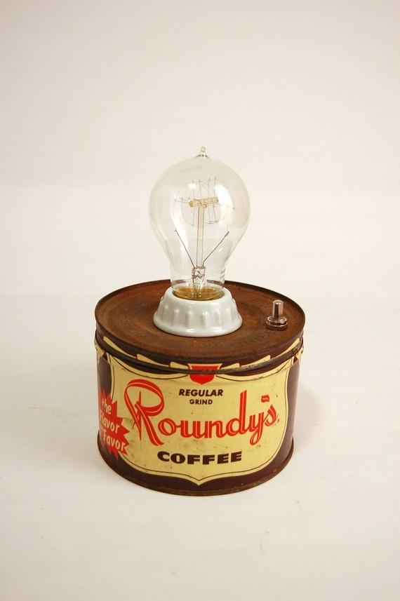 Roundy's Coffee Tin Lamp