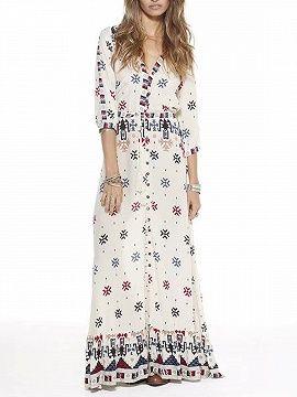 Shop Polychrome V-neck Geo-tribal Print 3/4 Sleeve Boho Maxi Dress from choies.com .Free shipping Worldwide.$31.49