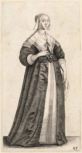 Artist  Wenceslaus Hollar (1607–1677) Link back to Creator infobox template wikidata:Q448555 Title Lady with a handkerchief. State 1. Date Unknown date (author lived 1607-1677) Dimensions 13 x 8 cm. Current location  Thomas Fisher Rare Book Library Link back to Institution infobox template wikidata:Q7789602 Wenceslas Hollar Digital Collection Accession number Plate number: P1800.