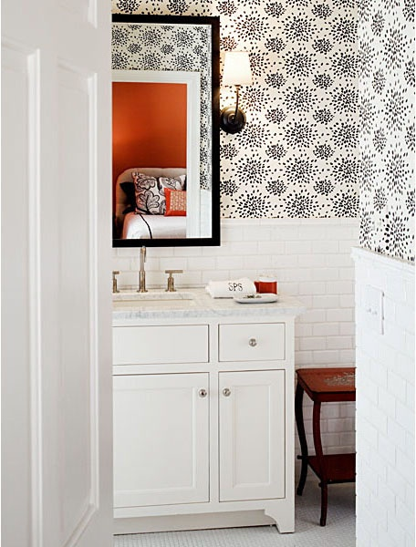 Bathroom wallpaperFireworks Wallpapers, Powder Room, Barry Benson, Black And White, Albert Hadley, Bathroom Ideas, Wall Tile, Subway Tiles, Bathroom Wallpapers