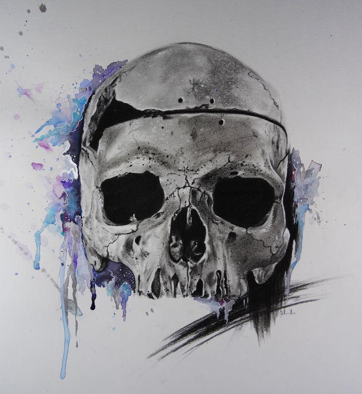 http://www.amberlouiseart.com/ #art #skull #horror #illustration #death #watercolour #colourful #realism