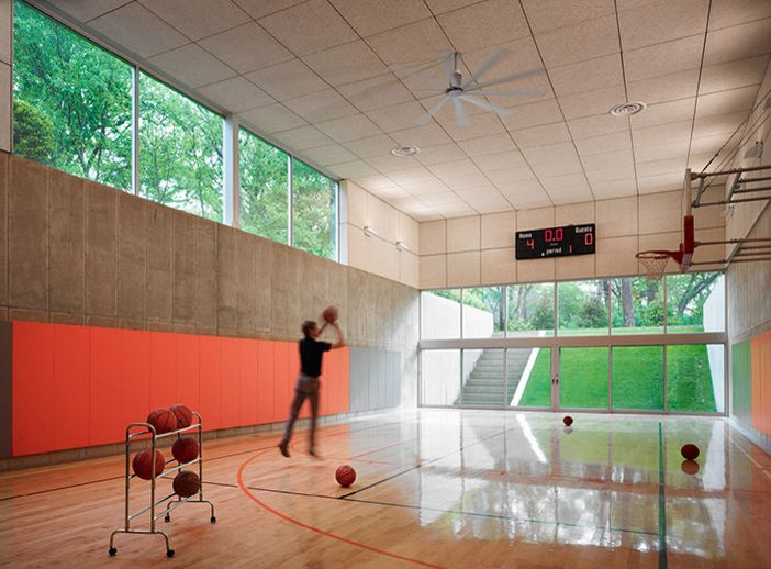 Indoor basketball courts homes of the rich the web 39 s Indoor basketball court ceiling height