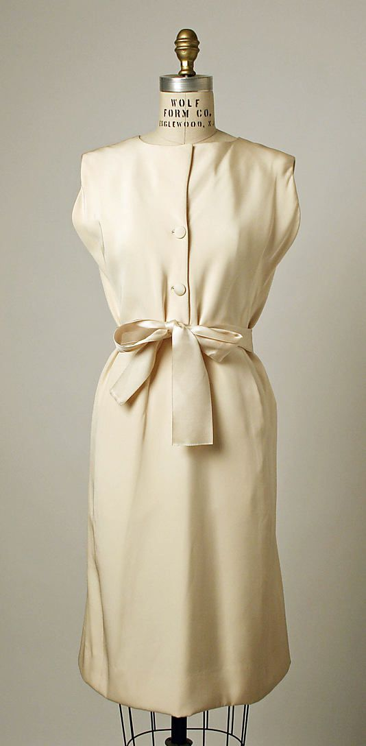 Ensemble, Afternoon.  House of Balenciaga  (French, founded 1937).  Designer: Cristobal Balenciaga (Spanish, 1895–1972). Date: 1965–66. Culture: French. Medium: silk. Dimensions: Length at CB (a): 38 1/2 in. (97.8 cm). Length at CB (b): 19 3/4 in. (50.2 cm).