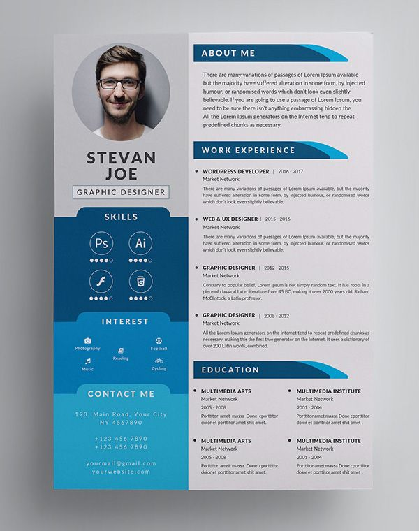 cv design graphique psd