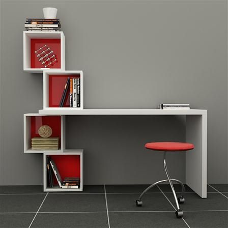 Decortie Balanced Desk & Bookcase, Various Colours Available