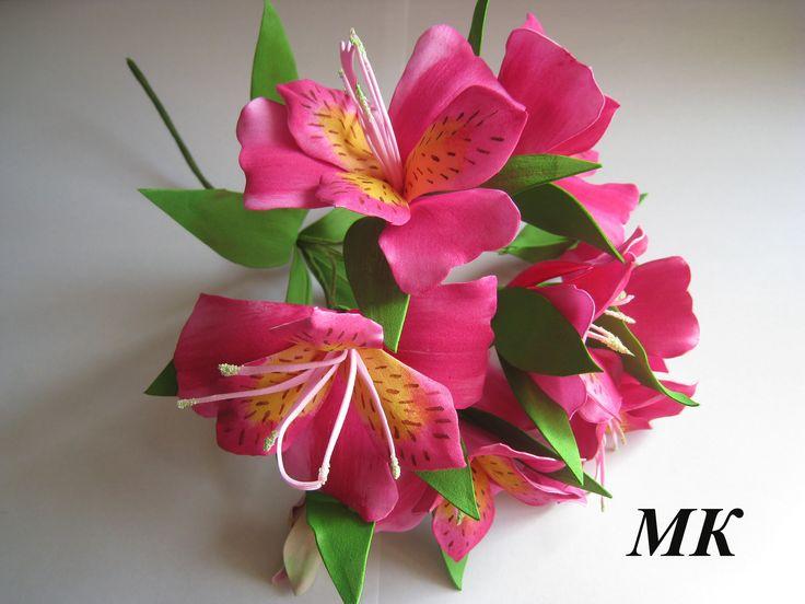 Цветы из фоамирана - Веточка Альстромерии МК.Часть 1  DIY