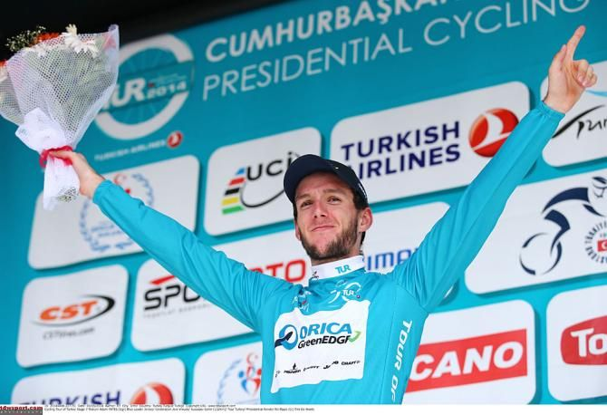 Presidential Cycling Tour of Turkey 2014 - Race leader Adam Yates on the podium