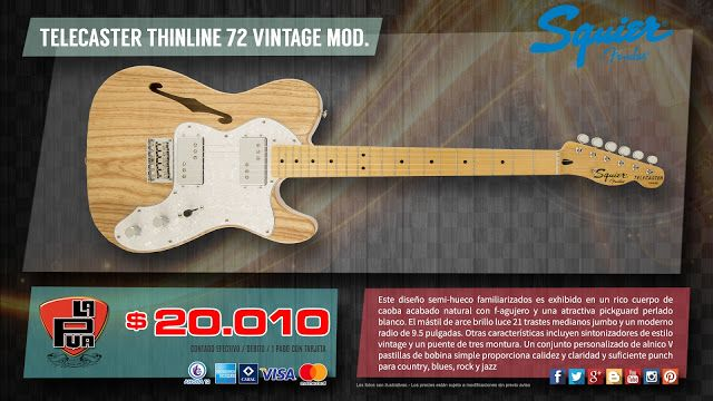 "La Púa San Miguel: GUITARRA ""SQUIER by FENDER"" TELECASTER THINLINE '7..."
