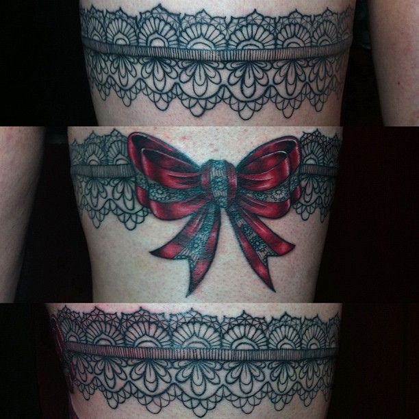 tattoos with lace | ... satin bow tonight! Front, back, side. Whew! #tattoo #tattoos #nofilter