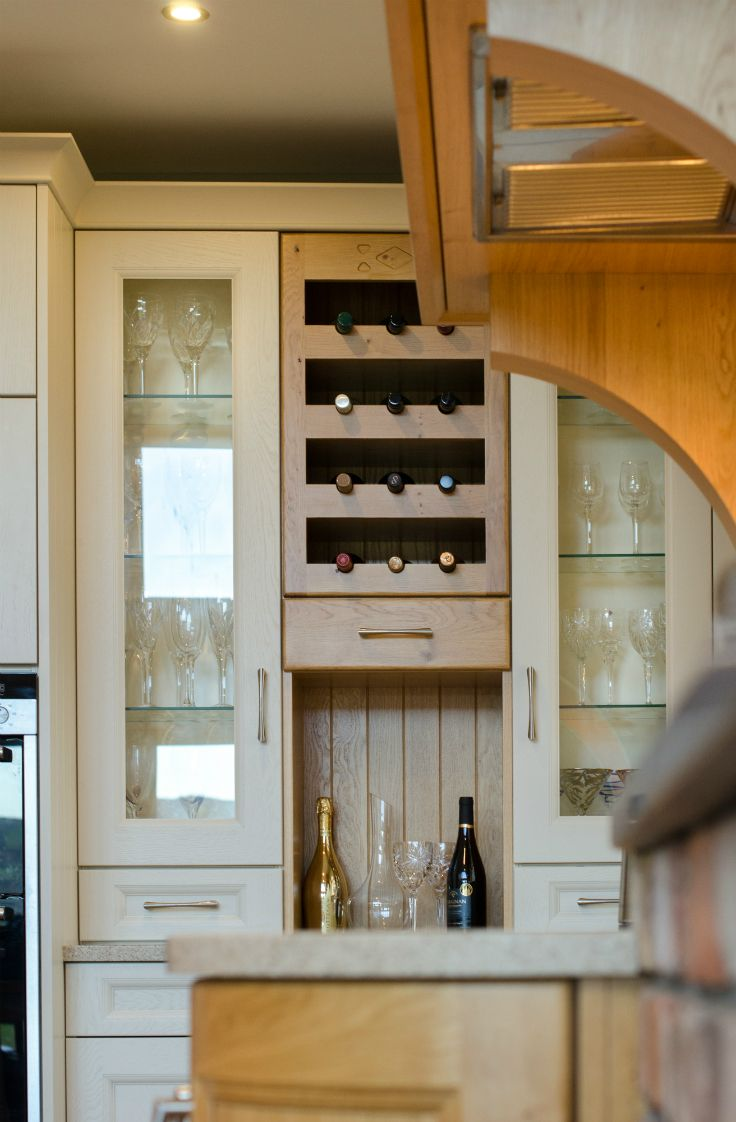 Oak wine unit, Kitchen done by Newhaven Kitchens Carlow.