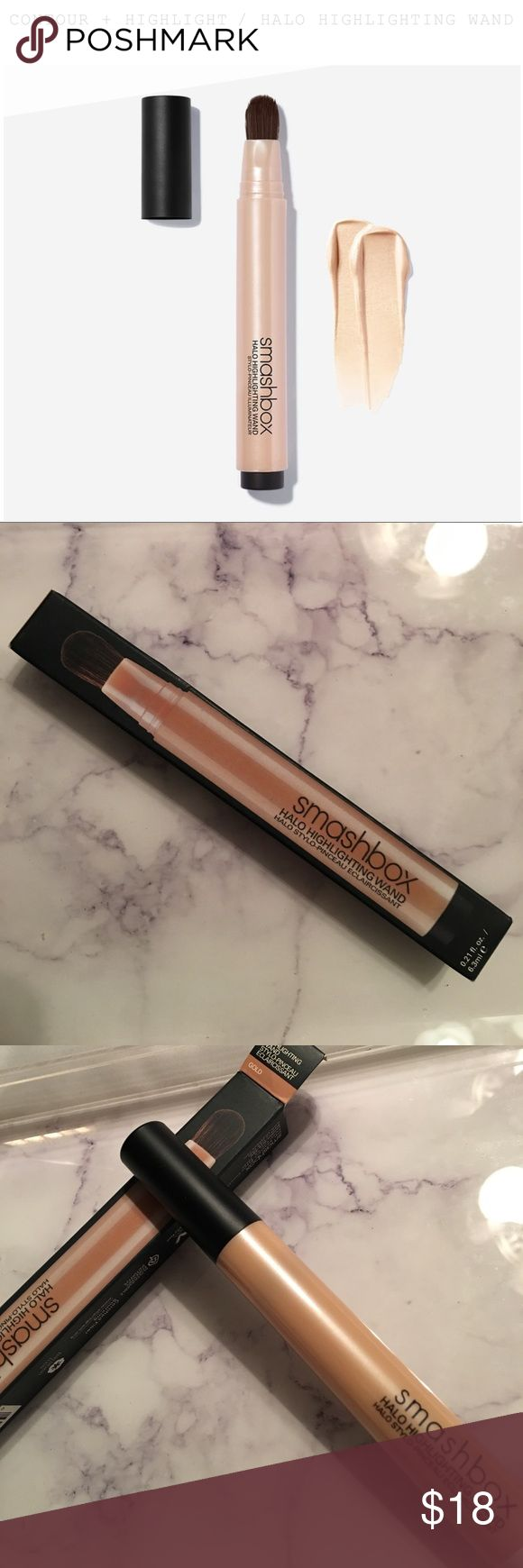 Halo Highlighting Wand - Gold The precise click-through pen delivers a pop of dewy, gorgeous pearl or golden iridescence that leaves skin looking totally lit-from-within. Flip the switch without glitter. It's the way to glow (and strobe) like a pro! Smashbox Makeup Luminizer