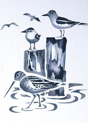 Coastal Birds Stencil 2 Sandpiper and Seagulls Stencil