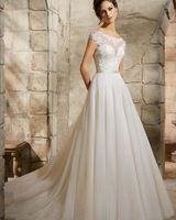 Vestidos Novia совок декольте кружево спинки линия тюль свадебное платье с коротким рукавом свадебные платья