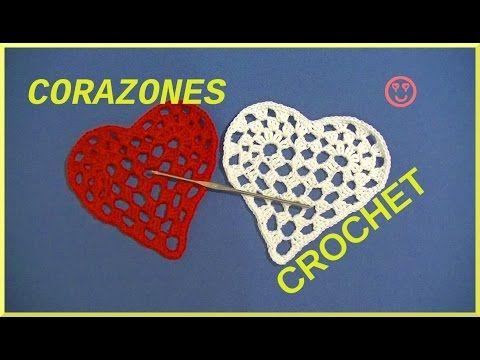 Corazones románticos San Valentín en tejido crochet o ganchillo tutorial paso a paso. - YouTube