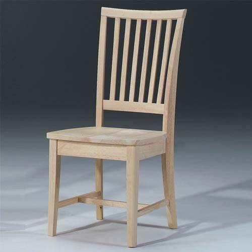 $203 for two  unfinished, could stain dark or paint red  Set Of Two Mission Unfinished Wood Chairs