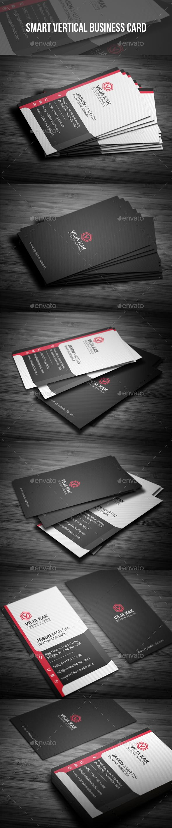 Smart Vertical Business Card - #Creative #Business #Cards Download here: https://graphicriver.net/item/smart-vertical-business-card/19322043?ref=alena994