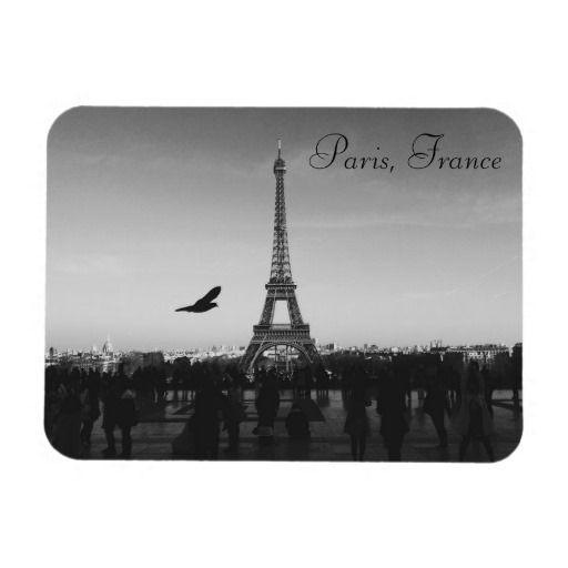 Eiffel Tower, Paris, France. Magnet. Black and White