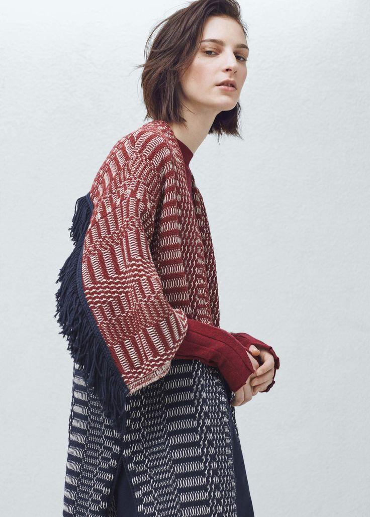 Premium - cotton jacquard cardigan - Cardigans and sweaters for Women | MANGO