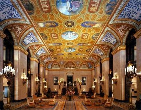 The magnificent lobby of the Palmer House