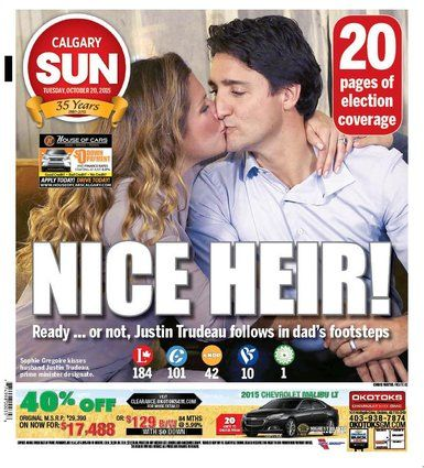Front Pages On Justin Trudeau's Big Win