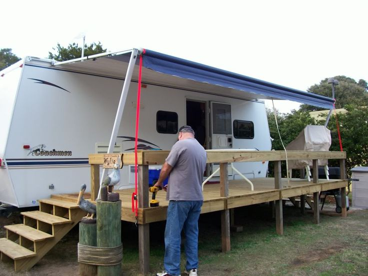 28 best camper deck ideas images on pinterest campers for Rv decks designs