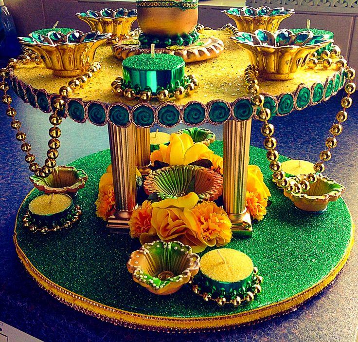 Mehndi Plates Decoration Ideas 2018 : Best images about pooja thali di ya mahendi