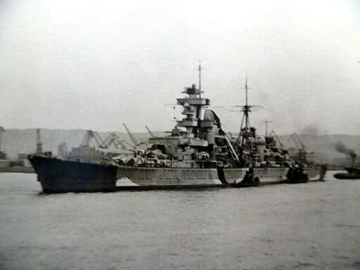 8 in heavy cruiser Prinz Eugen anchored at Gotenhafen (now Gdynia), late 1943. She was a participant in both the Bismarck saga of 1941 and the 'Channel Dash' of 1942, two of the most celebrated naval episodes of WW2. Surrendered intact in 1945, she was sacrificed post war in US nuclear tests at Bikini Atoll.
