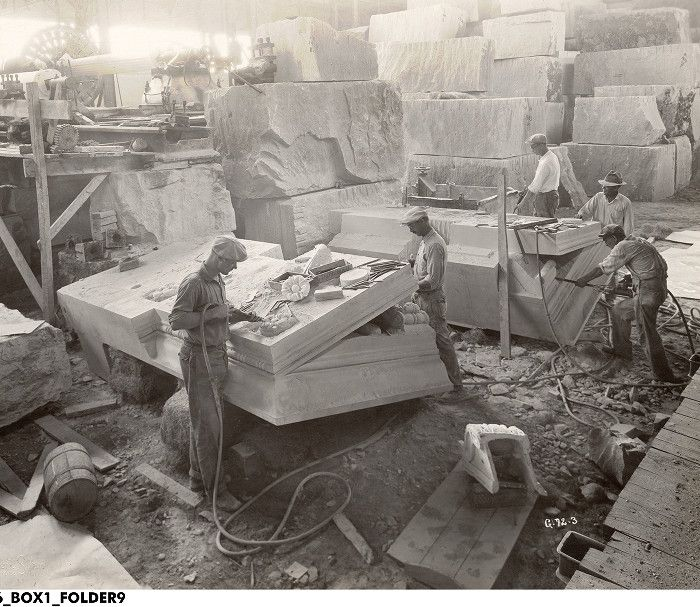 Carving Limestone, Indiana Limestone Company, Bedford, Indiana, October 1929