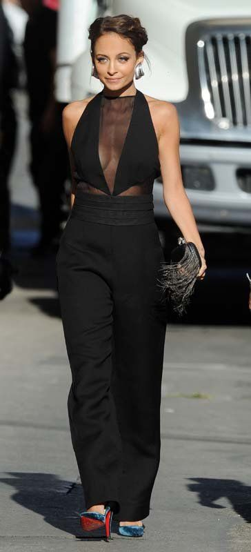 Hot! or Hmm...: Nicole Richies iJimmy Kimmel Live/i Emilio Pucci Fall 2013 Black Wool Jumpsuit with Sheer Chiffon Inserts