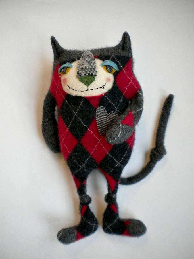 Stuffed Animal Cat from Argyle Cashmere Sweater by sweetpoppycat